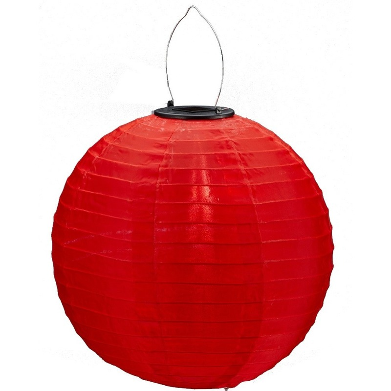 Rode solar party lampionnen 30 cm