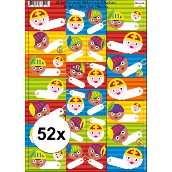 Sinterklaas cadeau stickers 52 stuks Cadeau /feest-artikelen/thema-feestartikelen/sinterklaas/sinterklaas-inpakmaterialen/sinterklaas-cadeau-versiering-stickers
