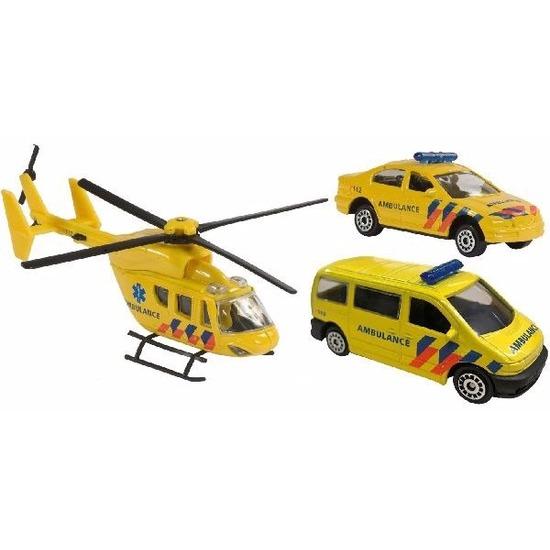 Speelgoed 112 ambulance set 3-delig helikopter 16 cm en autos 7 cm