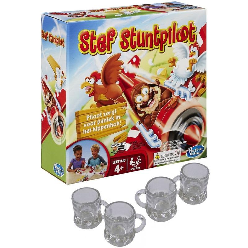 Stef Stuntpiloot drankspel-drinkspel met 4 shotglazen