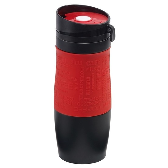 Thermosbeker-warmhoudbeker rood-zwart 380 ml