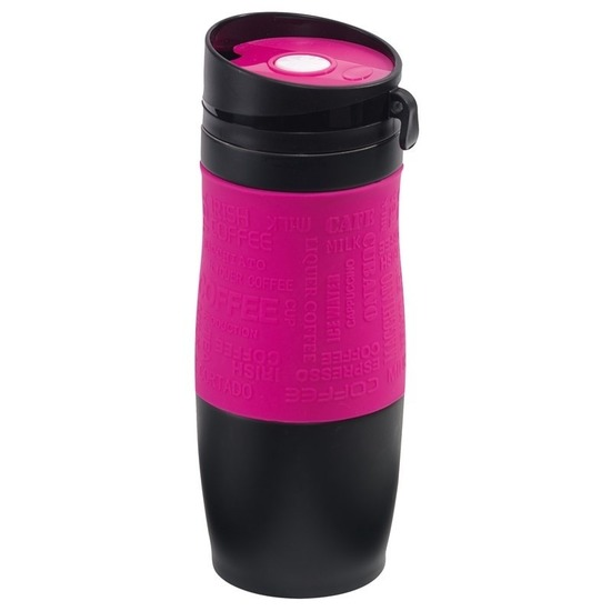 Thermosbeker-warmhoudbeker roze-zwart 380 ml