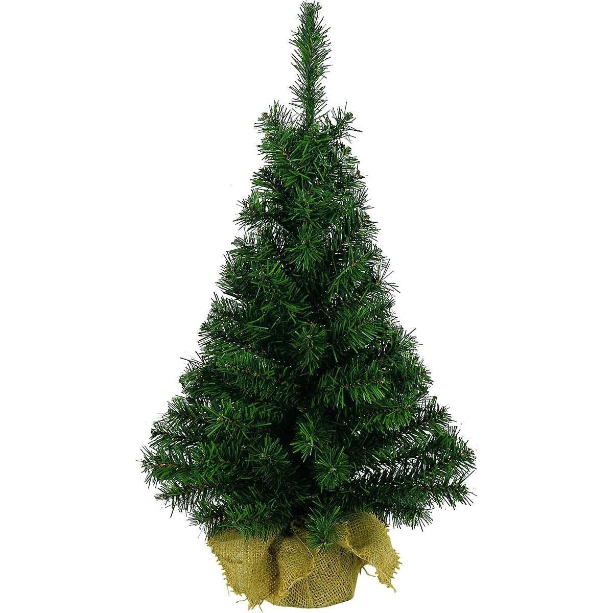 Volle mini kerstboom groen in jute zak 45 cm kunstbomen