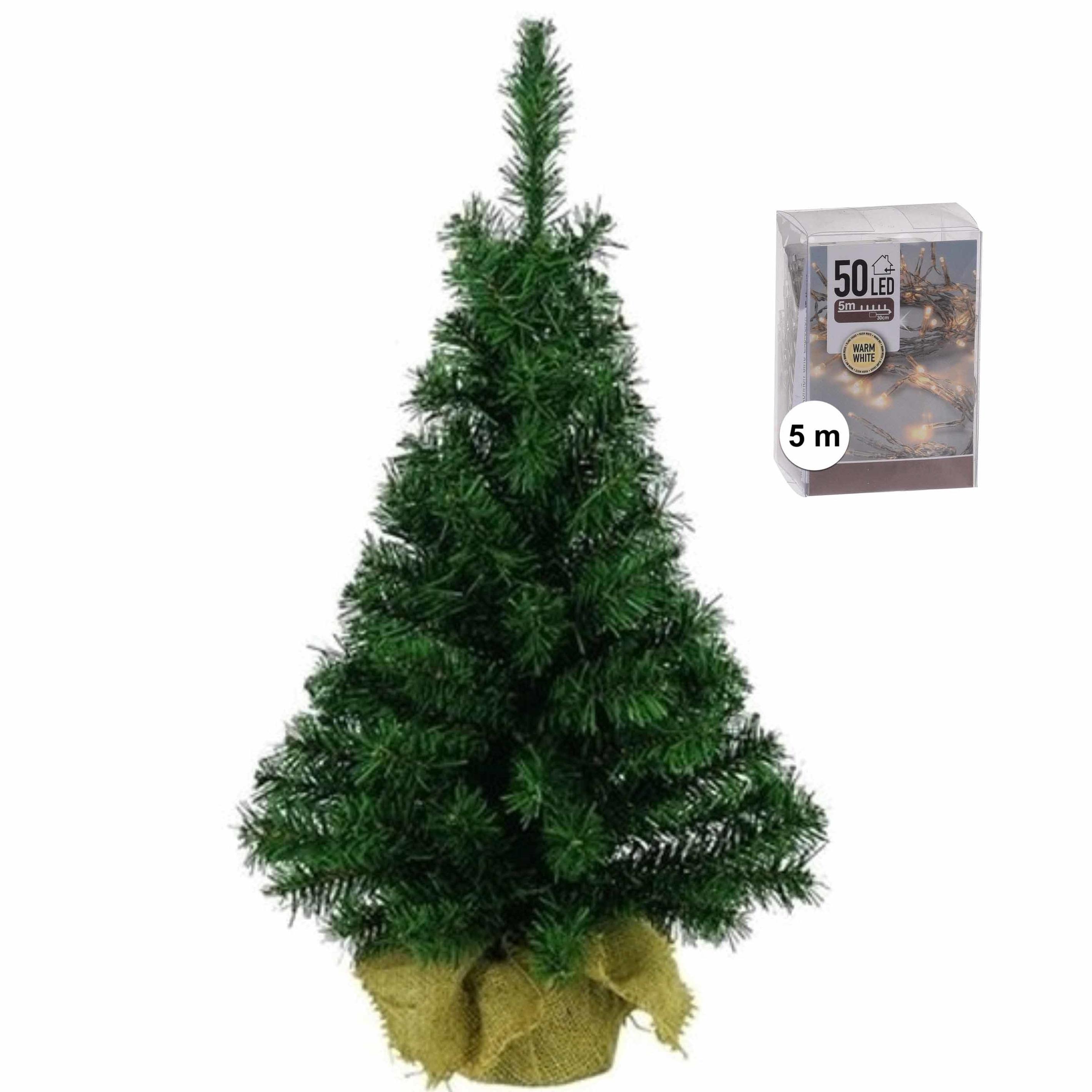 Volle mini kerstboom-kunstboom groen 45 cm inclusief warm witte kerstverlichting