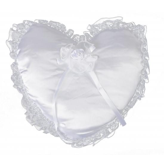 Wit trouwring kussen 30 cm