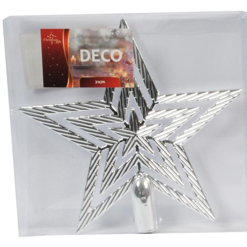 Zilveren kerstboom piek ster 21 cm