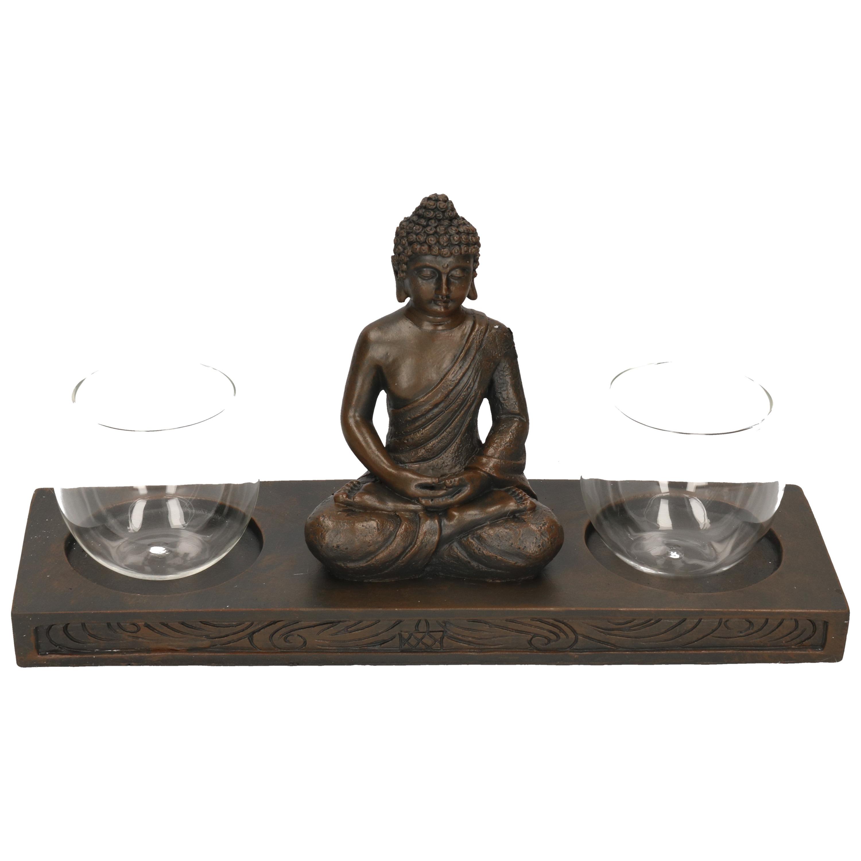 Zittende Boeddha waxinelichthouder op plank zwart 32 cm