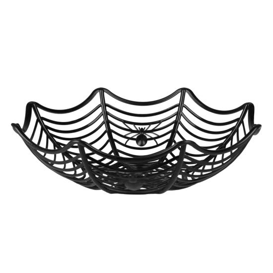Zwarte spinnenweb schaal 27 cm
